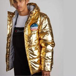Champion Metallic Gold Unisex Puffer Sporty Coat Jacket